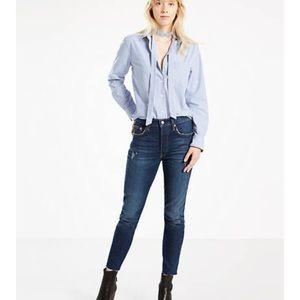 Levi's 501 skinny stretch raw hem dark wash jeans